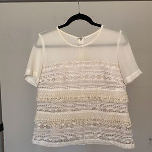 Blouse with fringe detail